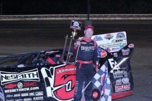 Ronnie Johnson of Chattanooga, TN, the all-time NeSmith Chevrolet Dirt Late Model Series winner, celebrates his 15th series career victory Saturday night at Bubba Raceway Park in Ocala, FL in the Rock Auto.com Speedweeks 50 Presented By Racecar Engineering driving the NeSmith Chevrolet Special.  (Photosbytrace.com Photo)