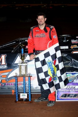 Jason Fitzgerald of Middleburg, FL drove the M&M Transport Refrigeration GRT to victory on Friday night in the Super Bowl of Racing Presented By Rock Auto.com for the NeSmith Chevrolet Dirt Late Model Series at Golden Isles Speedway in Brunswick, GA.  (Heath Lawson Photo)
