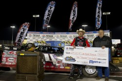 Morgan Bagley in the #14m celebrates after winning the Port-A-Cool® Texas World Dirt Track Championships in the SUPR Late Model series on March 8, 2014 in Fort Worth, Texas. (Photo by Cooper Neill/Getty Images for Texas Motor Speedway)