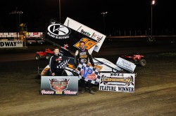 Ian Madsen picked up his third career MOWA series win with a victory, Friday, at Lincoln Speedway, Lincoln, Ill. Steven Hughes, Jr. Fan Club winner, was in victory lane to celebrate with Madsen. photos courtesy of MOWA series photographer William Baker Jr.