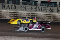 Brian Birkhofer passing Scott Bloomquist - Mike Ruefer photo