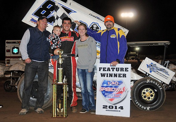 Aaron Reutzel took the win in Wednesday night's Second Annual Short Track Nationals Open at Little Rock's I-30 Speedway in Arkansas. (Lonnie Wheatley photos)