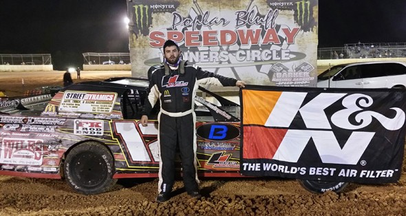 #12: Lucas Lee bested a field of 36 K&N Filters USCS Modifieds in the 14th annual Cotton Boll Cup at Polar bluff Speedway on Saturday night. (photo by Blake Hagan)