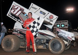 Christopher Bell bagged his 23rd overall win of the year by topping Friday night's 25-lap preliminary feature at I-30 Speedway's 27th Annual COMP Cams Short Track Nationals presented by Hoosier Tires in Little Rock, AR.  (Lonnie Wheatley photos)
