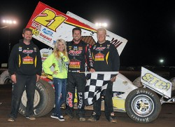 Brian Brown rallied from 14th to win Thursday night's 25-lap feature at the line in 27th Annual COMP Cams Short Track Nationals presented by Hoosier Tires preliminary action at I-30 Speedway in Little Rock, AR.  (Lonnie Wheatley photos)