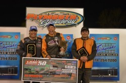 Lane Automotive 50 UMP Modifieds feature: Kyle Strickler (center), Brian Shaw (left) and Steve McClees.  Photo by Stephanie Reichelt Photography