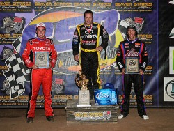 Tracy Hines, Christopher Bell & Tanner Thorson were the top 3 USAC Midget finishers - Lonnie Wheatley Photo