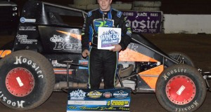 Brady Bacon topped the opening leg of the E&K Winter Challenge by taking the top spot in Friday night's 30-lap USAC Southwest vs. USAC West Coast feature event at Peoria, Arizona's Canyon Speedway Park. Photo by Jason Rominger