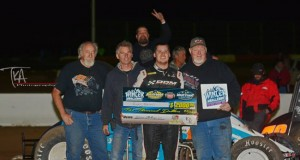 - Ryan Bernal and crew enjoy E&K Winter Challenge victory lane after topping Saturday night's 30-lap USAC Southwest vs. USAC West Coast Sprint Car feature at Canyon Speedway Park in Peoria, AZ. Photo by Terry Shaw