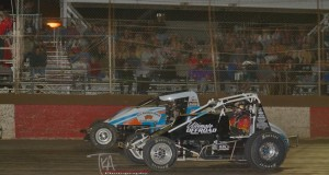 Ryan Bernal (56) edges Dave Darland (16) at the line in Saturday's E&K Winter Challenge Round Two at Canyon Speedway Park. Photo by Terry Shaw