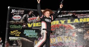 Jason Krohn enjoying a raucous victory lane at Tucson. (Photos by Sha'na)