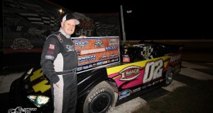 Keith Nosbisch of Valrico, FL celebrates his fifth career NeSmith Late Model win and his first in seven years on Friday night at Bubba Raceway Park in Ocala, FL during the Rock Auto.com Winternationals driving the Image Skin Care Rocket.  (photosbytrace.com)