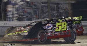 Mark Whitener of Middleburg, FL drives the #58 Dave's Towing Special to victory on Wednesday night in the season opener for the NeSmith Chevrolet Dirt Late Model Series in the Rock Auto.com Winternationals at Bubba Raceway Park in Ocala, FL.  (Photos By Trace.com)