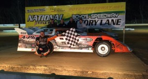Todd Morrow in victory lane at Boyd's Speedway.