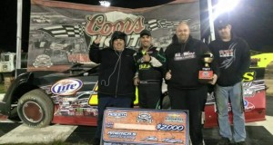 Mark Whitener and the Big Frog Motorsports team enjoy victory lane at Bubba Raceway Park.
