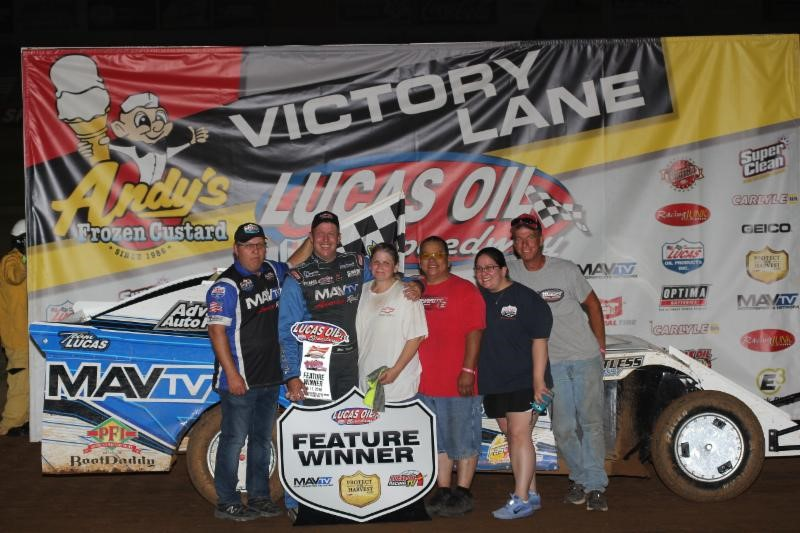 Eric Turner captured the $1,000 winner's share in the Pitts Homes USRA Modified feature Saturday night at Lucas Oil Speedway. (Chris Bork photo)